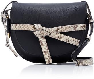 Loewe Gate Python And Leather Shoulder Bag