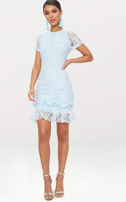 PrettyLittleThing Dusty Blue Frill Hem Lace Bodycon Dress