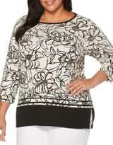 Rafaella Plus Giant Flower Cotton Boatneck Tunic