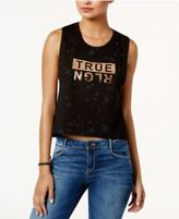 True Religion Cropped Metallic Logo Top