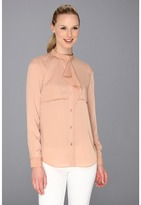 Anne Klein Flounce Front Blouse (Cameo) - Apparel
