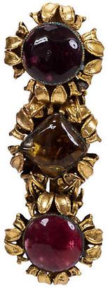 One Kings Lane Vintage Chanel 1983 Triple Gripoix Pin - Vintage Lux - gold/amber/red/purple