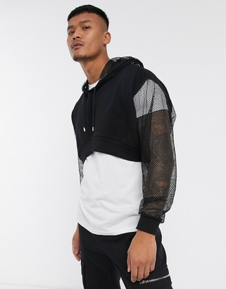 Asos DESIGN oversized cropped hoodie with mesh sleeve and hood in black