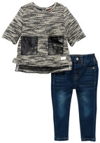 7 For All Mankind Bell Sleeve Top & Skinny Pant Set (Baby Girls)