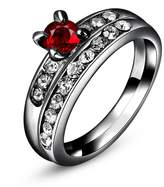 Epinki Gold Plated Round Cut Cubic Zirconia Engagement Wedding Ring Set For Women-Red Zirconia,Size 7