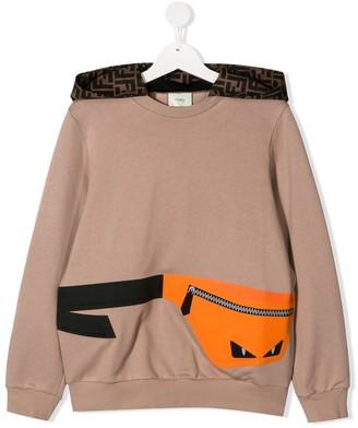 Fendi Kids TEEN Bag Bugs bag print hoodie