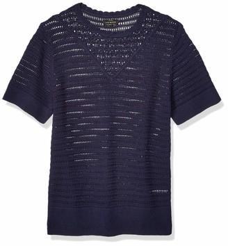 Lucky Brand Women's Plus Size Short Sleeve Crochet Sweater