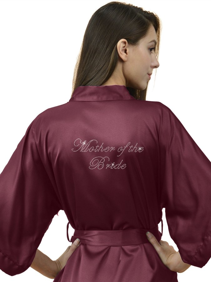 SIORO Women's Personalized Satin Robes Bridal Wedding Party Pajamas Night Gowns for Bridesmaid, Pink, S
