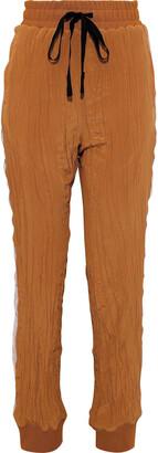 Haider Ackermann Velvet-trimmed Crinkled Silk Crepe De Chine Tapered Pants