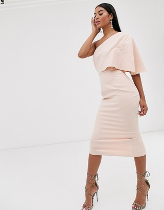 Pretty Lavish one shoulder midi dress in pink