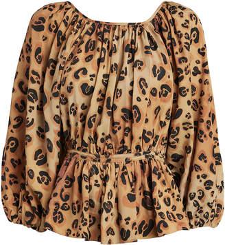 Mara Hoffman Maud Leopard Cinched Waist Blouse