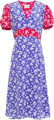 HVN Paneled Floral-print Silk Dress