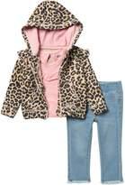 Hudson Jeans Glitter Leopard Print Hoodie, Top, & Jeans Set (Baby Girls)