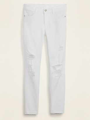 Old Navy Mid-Rise Distressed Rockstar Super Skinny White Ankle Jeans for Women