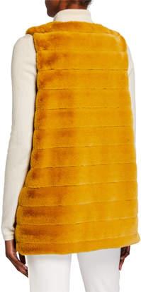 Accessory St. Groovy Rabbit Faux-Fur Jewel-Neck Duster Vest