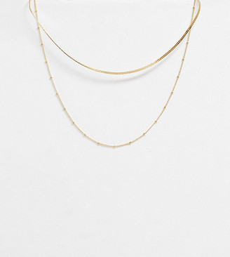 Orelia gold plated satellite and flat curb chain set