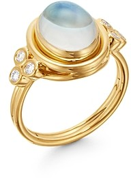 Temple St. Clair 18K Yellow Gold Classic Moonstone & Diamond Ring