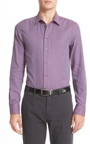 Armani Collezioni Men's Trim Fit Mix Weave Sport Shirt