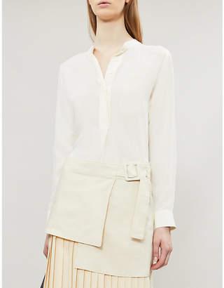 Joseph Mara band-collar silk-toile blouse
