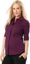A Pea in the Pod Convertible Sleeve Convertible Sleeve Maternity Shirt