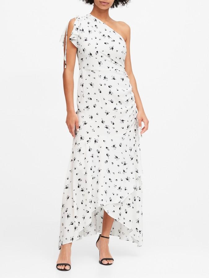 Banana Republic Floral Ruched One-Shoulder Dress