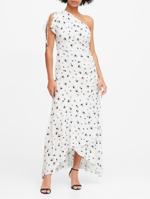 Banana Republic Floral Ruched One-Shoulder Dress