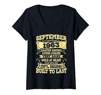Womens Vintage 56 Years Old September 1963 T-Shirts 56th Birthday V-Neck T-Shirt