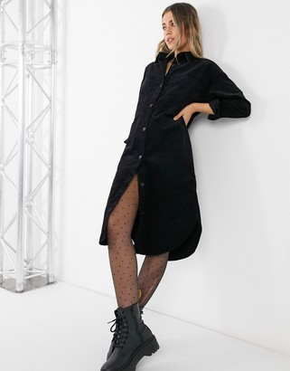 Monki Corin cotton cord shirt midi dress in black