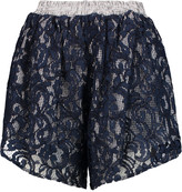 Carven Guipure lace and gingham cotton shorts