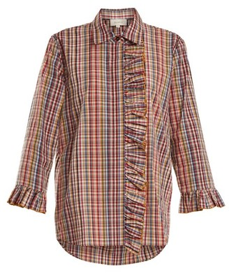 Isa Arfen Ruffle-trimmed Checked Cotton Shirt - Womens - Multi