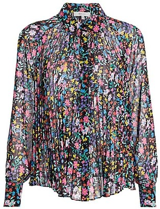 Milly Wildflower Pleated Silk Shirt