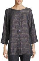 Eileen Fisher Coastline 3/4-Sleeve Organic Linen Box Top