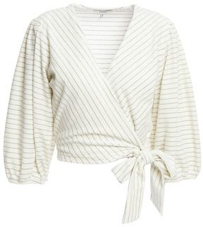 Ganni Metallic-trimmed Striped Velvet Wrap Blouse