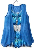 Knitworks Girls 7-16 Romper & Open Knit Duster Set with Necklace
