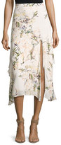 Haute Hippie The Garden Floral Silk Midi Skirt, White