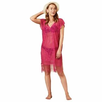 INGODI Elia Women's Beach Cover Up Lace V Neck Loose Swimsuit Beachwear Dress Summer Bikini Swimwear Cover-up (Fuchsia)