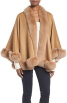 Sofia Cashmere Women's Genuine Fox Fur Trim Short Cashmere Cape