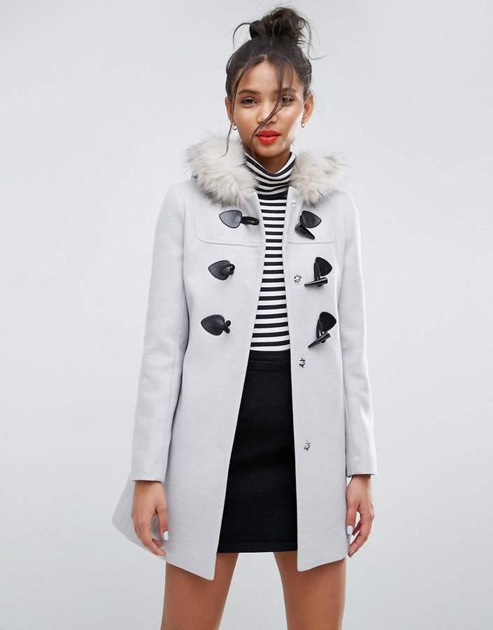 Asos Duffle Coat With Faux Fur Hood