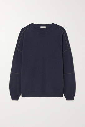 Brunello Cucinelli Bead-embellished Wool, Cashmere And Silk-blend Sweater - Blue