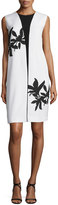 Narciso Rodriguez Bold Floral-Print Sleeveless Shift Dress, White