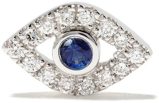Sydney Evan 14kt white gold Evil Eye sapphire and diamond stud earring