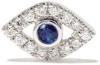 Sydney Evan 14kt white gold Evil Eye sapphire and diamond studs