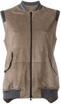 Brunello Cucinelli zipped vest - women - Silk/Cotton/Leather/Brass - 38