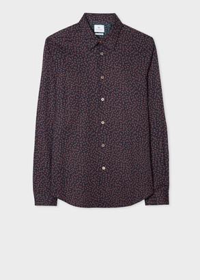 Paul Smith Men's Tailored-Fit Dark Navy 'Spaceship Floral' Cotton Shirt