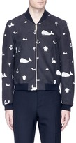 Thom Browne Icon embroidered leather varsity jacket