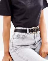 Asos DESIGN vegan double circle waist and hip belt in water based pu
