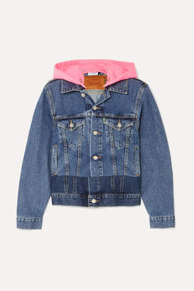Vetements Hooded Embroidered Neon Jersey And Denim Jacket - Indigo