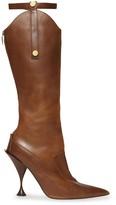Burberry Monogram Motif Stud Detail Leather Boots