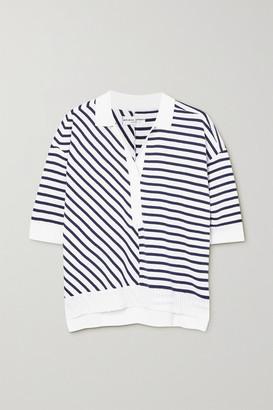 Apiece Apart Clara Striped Cotton-blend Polo Shirt - Navy