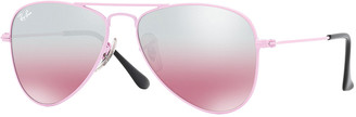 Ray-Ban Children's Mirrored Aviator Sunglasses, Pink